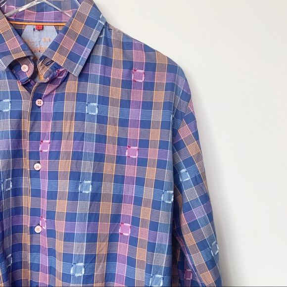 Luchiano Visconti Button Down Dress Shirt in Vibrant Square Multi